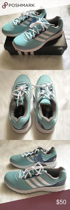 """NEW Adidas Duramo 7 Running Shoes! NEW in box, Adidas Duramo 7 Running Shoes. Size: 9. Gorgeous """"sea mist"""" (blue with hint of green, like a mint/seafoam color) with white accents. Details: Sizing: True to size. - Running - Round toe - Mesh construction - Lace-up closure - Ortholite comfort insole Materials: Textile upper, manmade sole. 🚫TRADES. adidas Shoes Athletic Shoes"""