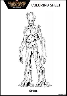 Guardians of the Galaxy Coloring Pages Groot #guardiansofthegalaxy #disney #coloring
