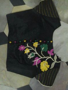 B Saree Blouse Neck Designs, Simple Blouse Designs, Saree Blouse Patterns, Stylish Blouse Design, Chudidhar Neck Designs, Sleeve Designs, Collor, Hand Embroidery Designs, Maggam Works