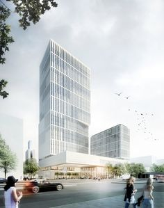 Cyrus Moser - Hochhaus für die Messe Office Building Architecture, Hotel Architecture, Architecture Visualization, Building Facade, Commercial Architecture, Concept Architecture, Futuristic Architecture, Building Design, Architecture Design