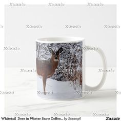 Whitetail  Deer in Winter Snow Coffee Mug