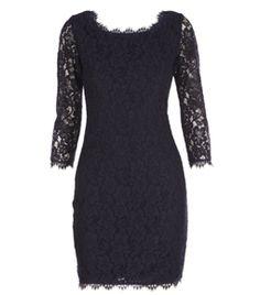 Navy. Lace dress. Boat neck. Sheer lace 3/4 sleeves. V back neckline. Exposed centre back zip. #matchesfashion