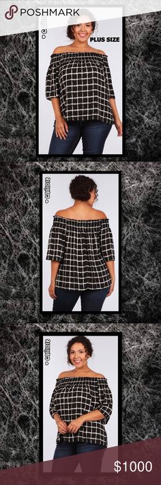 ⭐️⭐️COMING IN 2-3 DAYS GET YOUR SIZE TODAY⭐️⭐️ NEW Plus Size black and white grid print 3/4 sleeve off the shoulder relaxed fit top with smocked neckline and hi-lo hem.  Color: Black and White   Material 100% Polyester  Made In USA  Size: 1X, 2X, 3X  Features: Plus size; Off Shoulder; 3/4 Sleeve  💠💠PRICE FIRM UNLESS BUNDLED💠💠   🌺🌺SORRY, NO TRADES🌺🌺  ⭐️⭐️QUANTITIES ARE LIMITED⭐️⭐️⭐️ Glam Squad 2 You Tops