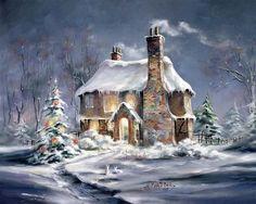 Znalezione obrazy dla zapytania wiatrak w śniegu malarstwo