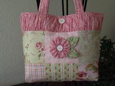 Patchwork Bag with sweet yo yo flower.
