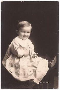 Vintage Real Photo Postcard RPPC Happy Little Boy Studio Portrait c1910s Unused