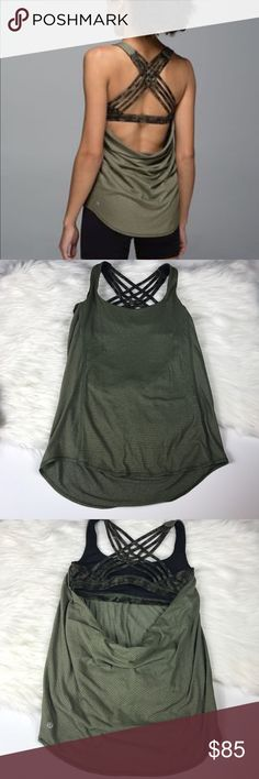 Lululemon Wild Tank Fatigue Green Camo Awesome tank! Excellent condition! Bra is attached to Tank. Low cut back like shown. Bra has camp pattern. No padding included but there are slots so you can add it. Size 4. Popular style and pattern!  🚫No trades! 💗Offers through the offer button only 📦Bundle and save 15% off your order lululemon athletica Tops Tank Tops