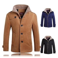 Mens Thick Warm Jacket Lambs Wool Lining Trench Coat Single Breasted Fashion Outerwear