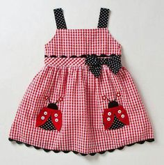this is for emma and rachael Infant Lady Bug Gingham Dress & Panty - Samara Dresses Little Dresses, Little Girl Dresses, Girls Dresses, Sewing For Kids, Baby Sewing, Sewing Ideas, Baby Outfits, Kids Outfits, Kids Wear