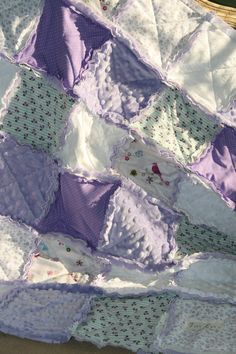 Shabby Chic Baby Girl Rag Quilt Lavender Nursery White Nursery, Girl Nursery, Nursery Ideas, Shabby Chic Baby, Vintage Shabby Chic, Patchwork Quilting, Rag Quilt Purple, Girls Rag Quilt, All Things Purple