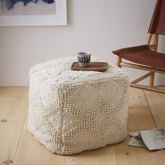 """Diamond Bubble Wool Pouf   west elm This is what I am going to make during our crafty weekend! Overall product dimensions: 16""""sq. x 17""""h"""