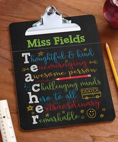 Thank a teacher with this personalized clipboard boasting a firm hold on all their important papers and documents. Shipping note: This item will be personalized just for you. Allow extra time for your special find to ship.