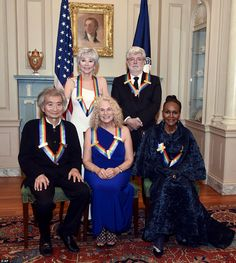 The 2015 Kennedy Center Honorees, from left, Seiji Ozawa, Rita Moreno, Carole King, George Lucas and Cicely Tyson pose for a group photo following the State Department Dinner on December 5