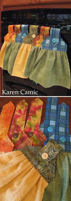 Oven Hand Towels - instructions from… Easy Sewing Projects, Sewing Projects For Beginners, Sewing Hacks, Sewing Tutorials, Sewing Crafts, Sewing Patterns, Doll Patterns, Sewing Ideas, Diy Crafts