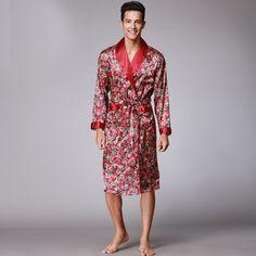 600ebd985c Men Silk bathrobes long sleeved bath robes Night gown For Male Senior Satin  Sleepwear Summer Long Paisley Pattern Pajamas Set