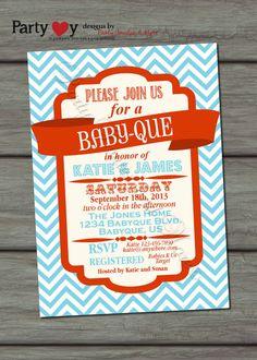 BBQ Joint Baby Shower, Blue, Orange, Co-ed, Barbeque Baby Shower, DIY, Chevron, Retro, Typography - Digital Print File