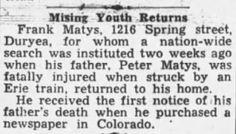 Genealogical Gems: Mystery Monday: Frank Matys returns home, but myst...