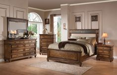 """5 pc Arielle collection oak finish wood and cream linen padded headboard queen bedroom set. This set includes the Queen bed set, one nightstand, Dresser, Mirror and Chest. Queen bed features a cream linen padded headboard. Nightstand measures 28"""" x 18"""" x 30"""" H, Dresser measures 64"""" x 18"""" x 39"""" H. Mirror measures 50"""" x 40"""" H. , Chest measures 36"""" x 18"""" x 48"""" H. Some assembly may be required. Cal King and Eastern king also available at additional cost."""
