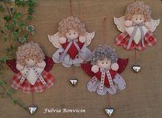 angelitos fieltro y tela con cascabel