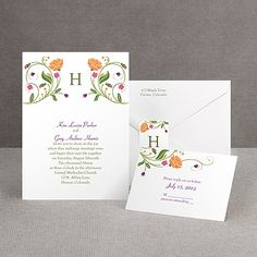 Fresh Floral Monogram - Invitation SALE today 25 percent off Orange Wedding Invitations, Garden Wedding Invitations, Invitation Card Design, Invitation Cards, Wedding Stuff, Wedding Ideas, Green Wedding, Floral Motif, Folk Art