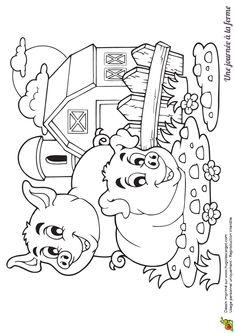 Coloriage de deux cochons qui jouent devant la ferme