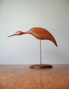 Mid Century Modern Teak Wood Bird Sculpture / Figurine by luola, $112.00