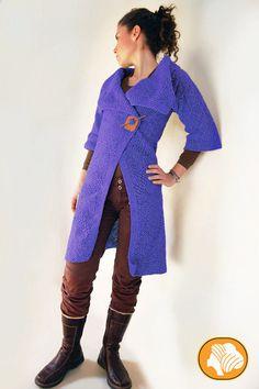Mustard or blue woolen coat van Ullvuna op Etsy