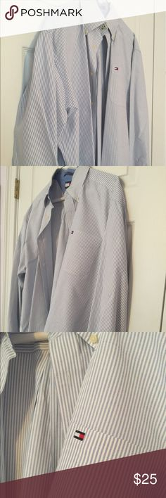 Men's Tommy Hilfiger buttondown shirt Men's blue and white stripe Tommy Hilfiger buttondown shirt. Nice cotton material and worn only a couple of times. Size L Tommy Hilfiger Shirts Casual Button Down Shirts