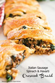 "Italian Sausage Spinach And Havarti Crescent Braid – This kind of savory crescent braid is a type of ""particular"" meals I prefer to make for breakfast, brunch or serve with a easy salad for Sausage Crescent Rolls, Crescent Roll Recipes, Pillsbury Crescent Recipes, Cresent Rolls, Sausage Bread, Havarti Cheese, Dinner Rolls Recipe, Recipes Dinner, Dinner Ideas"