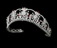 Sparkling Rhinestone & Swarovski Crystal Covered Tiara with Color Accents #TiaraHeadpieces