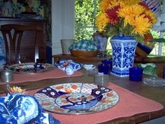 fall breakfast table set for two.