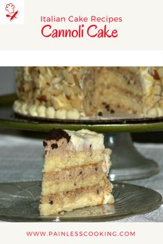 Learn how to make Italian cake recipes. This cannoli cake recipe is a layer cake with a delicious ricotta cheese filling. The cake is baked in 3 nine inch cake pans. Prepare ricotta cheese filling and the mascarpone frosting. When cake is cool assemble. I decorated mine with sliced almonds on the sides and mini chocolate chips around center.