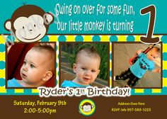 Mod Monkey Invitation Photo