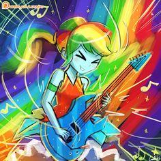 #1270934 - alternate hairstyle, artist:lumineko, clothes, crystal gala, dress, electric guitar, equestria girls, eyes closed, guitar pick, legend of everfree, music notes, patreon, playing, rainbow dash, safe, signature, speedpaint, spoiler:legend of everfree - Derpibooru - My Little Pony: Friendship is Magic Imageboard