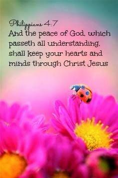 PHILIPPIANS 4:7.  And the peace of God ....shall keep your hearts and minds through Christ Jesus.