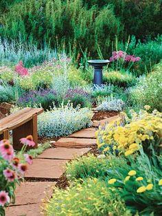 tough as nails garden IRL. bhg.com. catmine. lavender cotton, 'moonshine' yarrow, 'munstead' lavender', penstemon, phlox, purple coneflower. All xeric. birdbath or archtectural ornament. flagstone path, bench. Backyard.