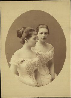 Cabinet photograph of two women in ball gowns, 1880-90, Budapest.