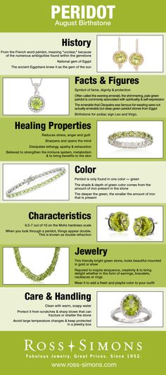 Learn about the history, facts, healing properties, color, characteristics and how to care for August's Birthstone, Peridot.