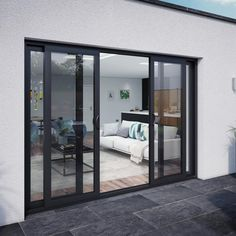 Smarts Aluminium Patio Door Set x 4 door - 2 centre sliding panels - Sliding Patio Doors from ATT Fabrications Ltd UK External Sliding Doors, Aluminium Sliding Doors, Wooden Sliding Doors, Double Sliding Doors, Sliding Door Design, Sliding Panels, Sliding Glass Patio Doors, Double Patio Doors, Sliding Room Doors