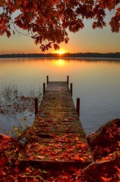 Autumn on the lake > Pretty sure this is photoshopped, but it's still pretty.