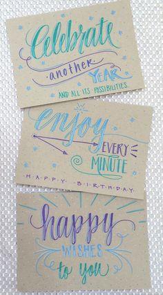 Lettering Lately > Hand lettered birthday cards Geburtstagskarte Lettering Brush, Doodle Lettering, Lettering Design, Lettering Ideas, Calligraphy Letters, Typography Letters, Caligraphy, Letras Cool, Diy Broderie