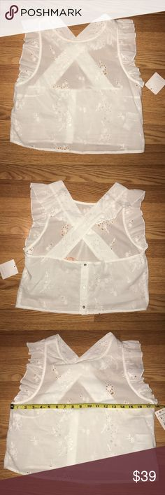 a950856f Zara ruffled criss cross cropped eyelet top L -brand new with tags -can fit