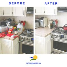 Here's an example of a before and after organizating a kitchen. Now the family can enjoy their kitchen and keep it clean and tidy!