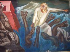 Detalle del mural de José Clemente Orozco en la Biblioteca Baker, Dartmouth College, Hanover, New Hampshire