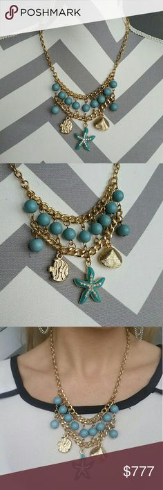Beach Vibes necklace Brand new  Price is firm  Grab this OCEAN VIBES necklace for your spring/summer wardrobe! Necklace features shells, fish and starfish pendants with blue beads. Pair with your bikini, or favorite top and cut off shorts or with a sun dress!   Beach, ocean, fish, shells, vacation, picnic, party, poolside, pool party, cruise, holiday, summer, spring, gift idea, chain,   Jewelry Necklaces