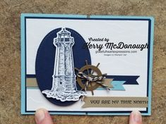 Easy fun fold card using the Sailing Home stamp set and coordinating Smooth Sailing Dies, High Seas Embossing Folder, and Come Sail Away Designer Series Paper!