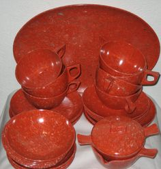 Vintage Sun Valley melmac dish set multi speckled orange confetti new old stock on Etsy, $76.00