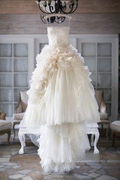 Ruffled wedding dress: http://www.stylemepretty.com/california-weddings/2014/12/15/elegant-spring-malibu-wedding/   Photography: Catherine Hall Studios - http://catherinehallstudios.com/