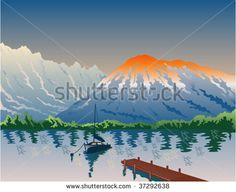 Sailboat on lake with pier and mountain - stock vector #lake #retro #illustration