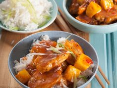 Microwave sweet and sour pork • A great way to serve leftover pork – make a quick sauce in the microwave, stir in the meat and you have a meal in minutes.